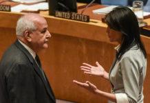 سفیر ایالات متحده در سازمان ملل، در گفتگو با نماینده فلسطینی ها در آن سازمان